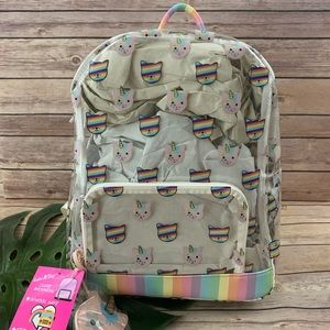 Luv Betsey clear rainbow unicorn kitten backpack